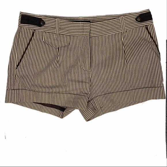 BCBGMaxAzria Pants - BCBGMaxAzria Brown & Beige Striped Short Shorts 6